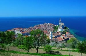 Piran the medieval city with the church of St. George