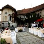 Wedding lunch on the Bled castle terrace